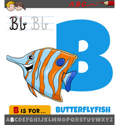 Letter b from alphabet with cartoon butterflyfish vector