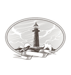 lighthouse engraving emblem vector image