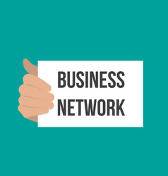 Man showing paper business network text vector