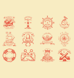 marine and nautical emblems set engraved vector image
