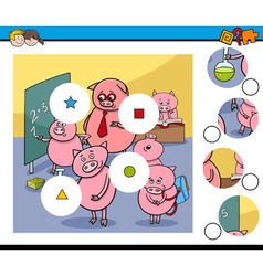 Match pieces game with pigs vector