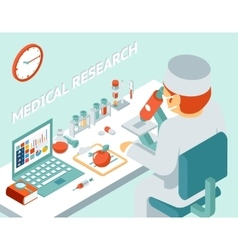 Medical research 3d isometric concept vector image vector image
