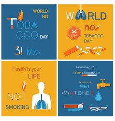 no tobacco day health is your life not smoking vector image
