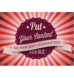 Old red round retro vintage label vector