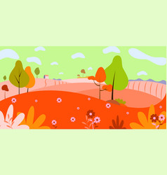panoramic countryside landscape in autumn of vector image