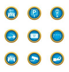 Parking site icons set flat style vector