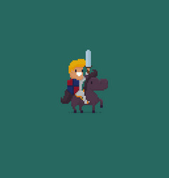Pixel art knight vector