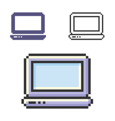 Pixel icon laptop in three variants fully vector