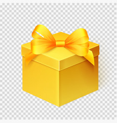 Realistic yellow gift box with ribbon design vector