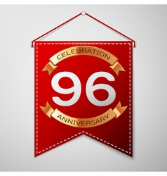 Red pennant with inscription ninety six years vector