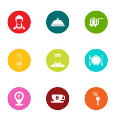 restaurant service icons set flat style vector image