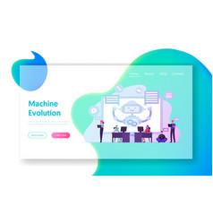 robot work on laptop help customers landing page vector image