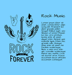 rock music forever postcard vector image