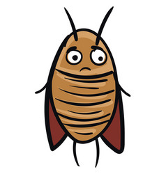 Sad brown cockroach on white background vector
