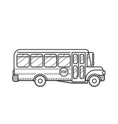 school bus public transport black and white vector image