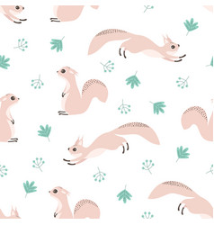 seamless pattern with squirrel and leaves vector image