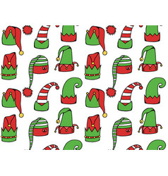 seamless texture with cartoon elf hats vector image