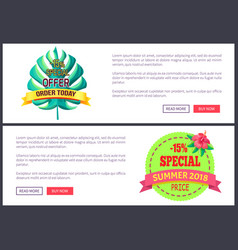seasonal discount sale labels tropical web vector image