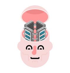 server in head data center brain internet vector image