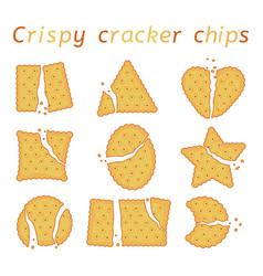 Set broken baked cracker chips vector