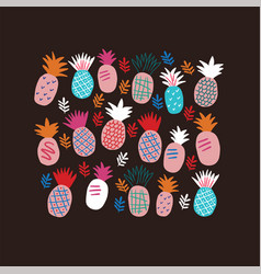 set colorful abstract pineapples on black vector image