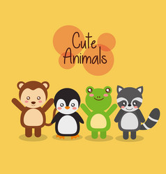 set cute animals wildlife fauna vector image