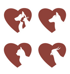 set of pets in heart vector image
