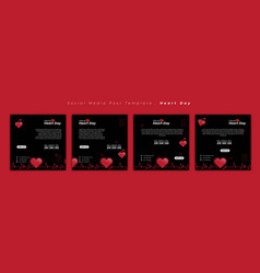 Set social media post template with heart beat vector