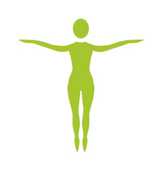 Silhouette woman standing in tips her feet vector