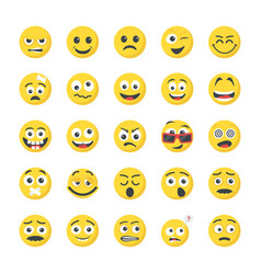 Smileys flat icons collection vector