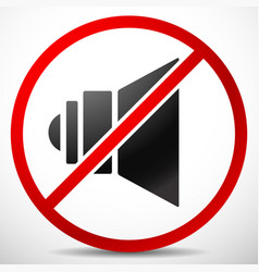 Speaker with prohibition sign mute no sound vector
