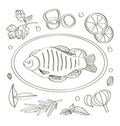 Spices for cooking fish vector