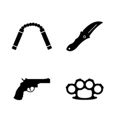 Steel arms firearms weapon simple related icons vector
