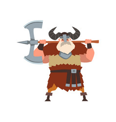 Strong viking warrior character with double edged vector