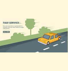 taxi service banner horizontal cartoon style vector image