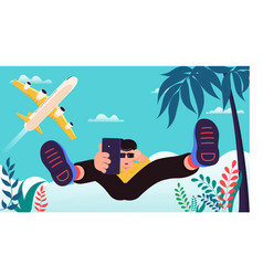 time to travel poster young man in glasses vector image