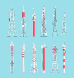 Towers flat set vector