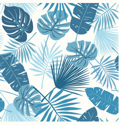 Tropical leaves blue vector