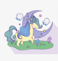 Unicorn half moon clouds meadow flowers fantasy vector