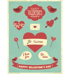 Valentines day retro collection vector