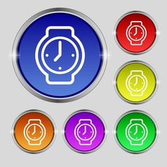 Watches icon sign Round symbol on bright colourful vector