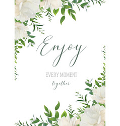watercolor floral greeting wedding invite card vector image
