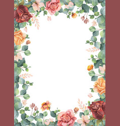 watercolor hand painted frame with green vector image