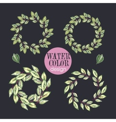 Watercolor set four rose wreathstrendy design vector