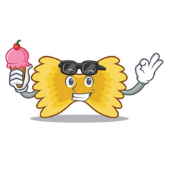 With ice cream farfalle pasta character cartoon vector
