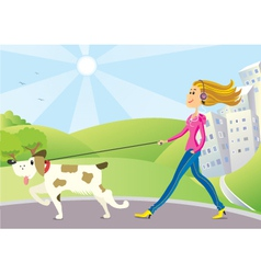 Woman and dog on walk vector
