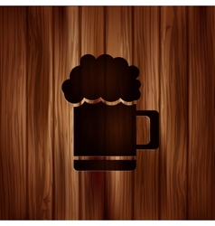 Glass of beer web icon Wooden texture vector image