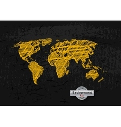 hand drawn yellow world map on a grey background vector image vector image