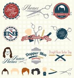 The Barbershop Labels vector image vector image