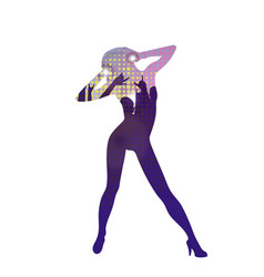 the dancing girl silhouette in nightclub vector image vector image